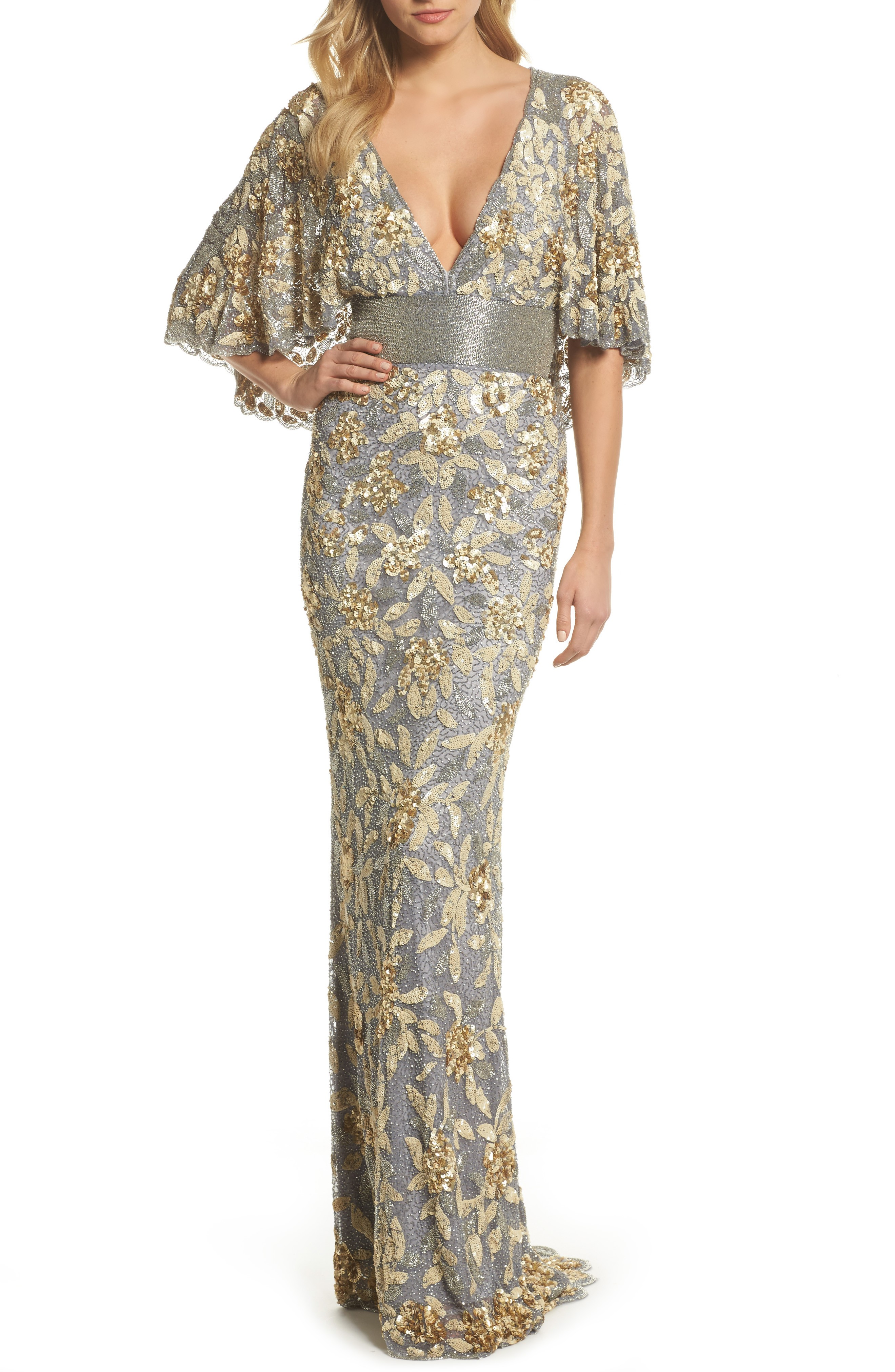 MAC DUGGAL Sequin & Bead Embellished Platinum / Gold Gown - We ...