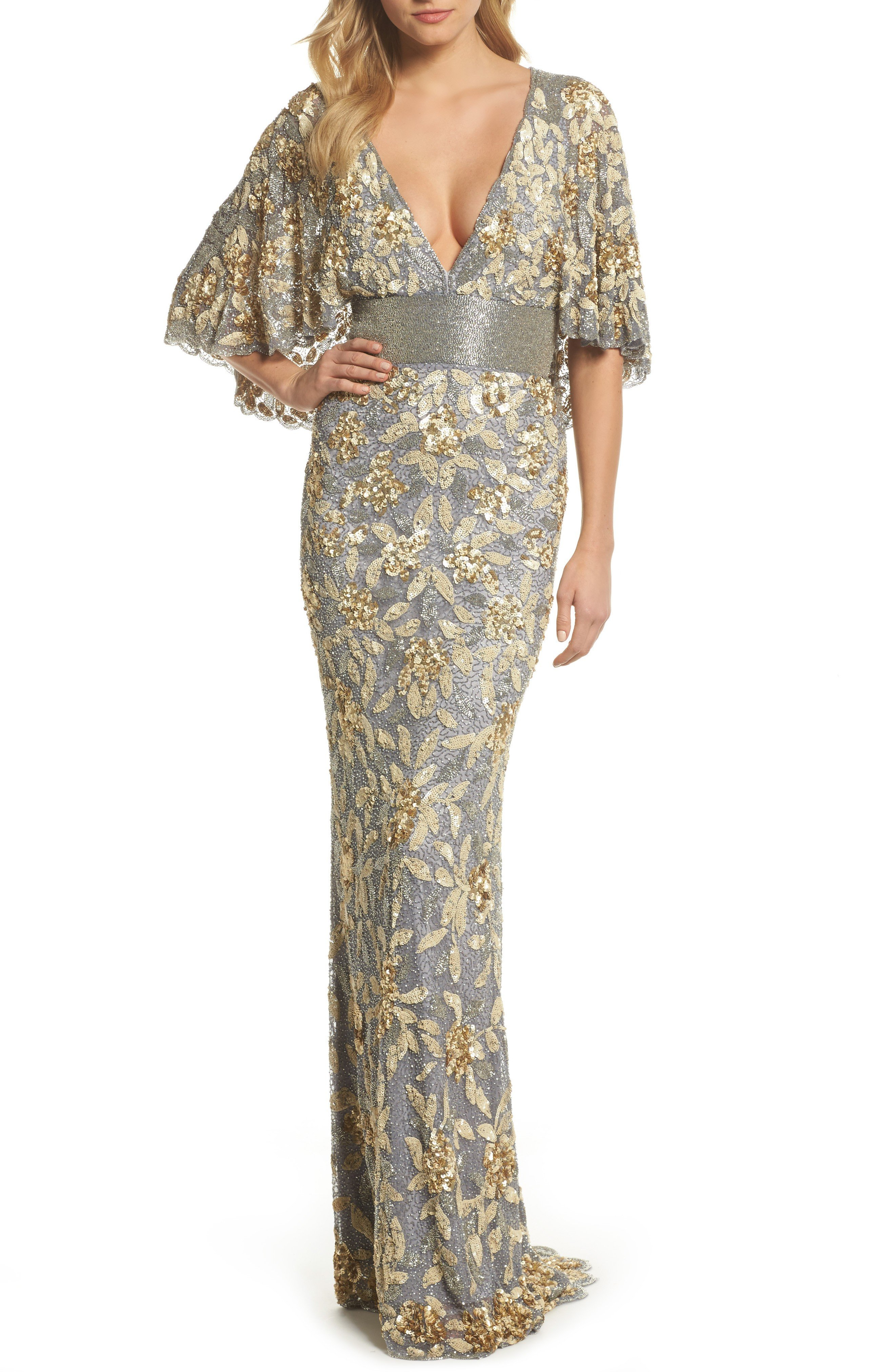 MAC DUGGAL Sequin & Bead Embellished Platinum / Gold Gown