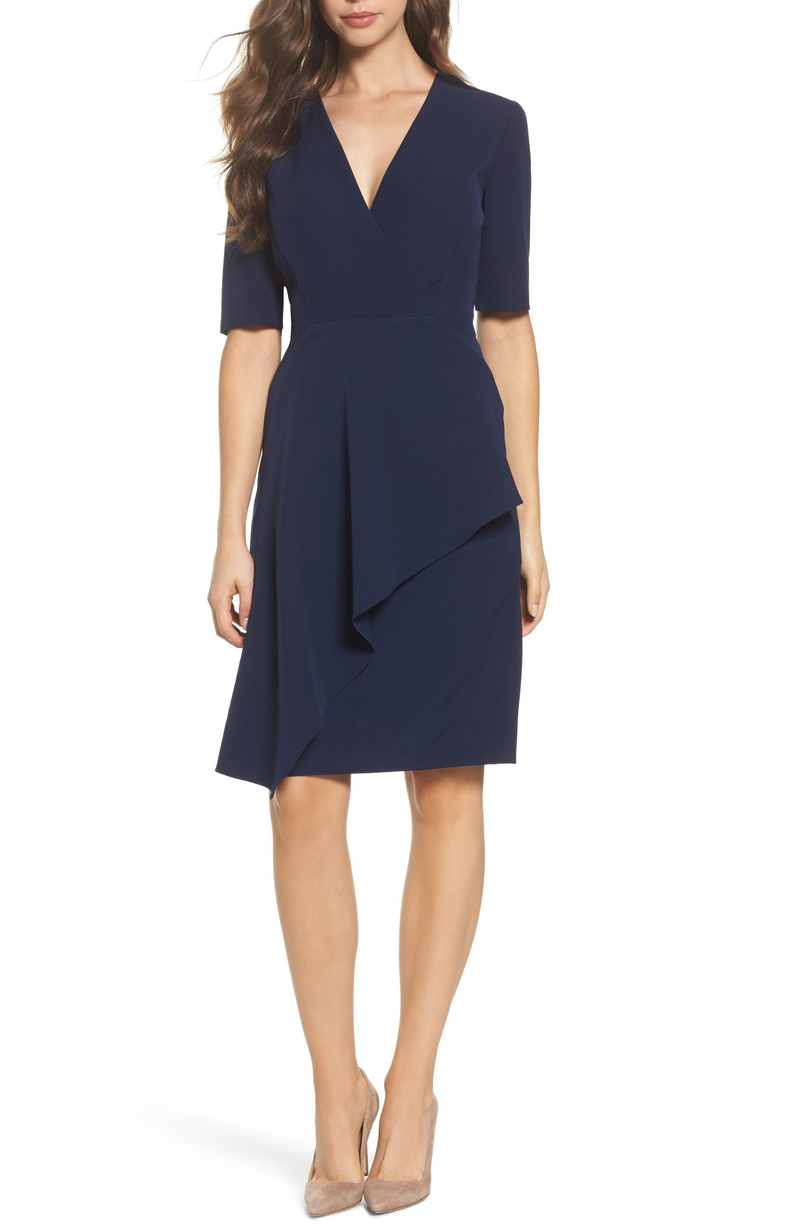MAGGY LONDON Solid Dream Crepe Sheath Dark Navy Dress
