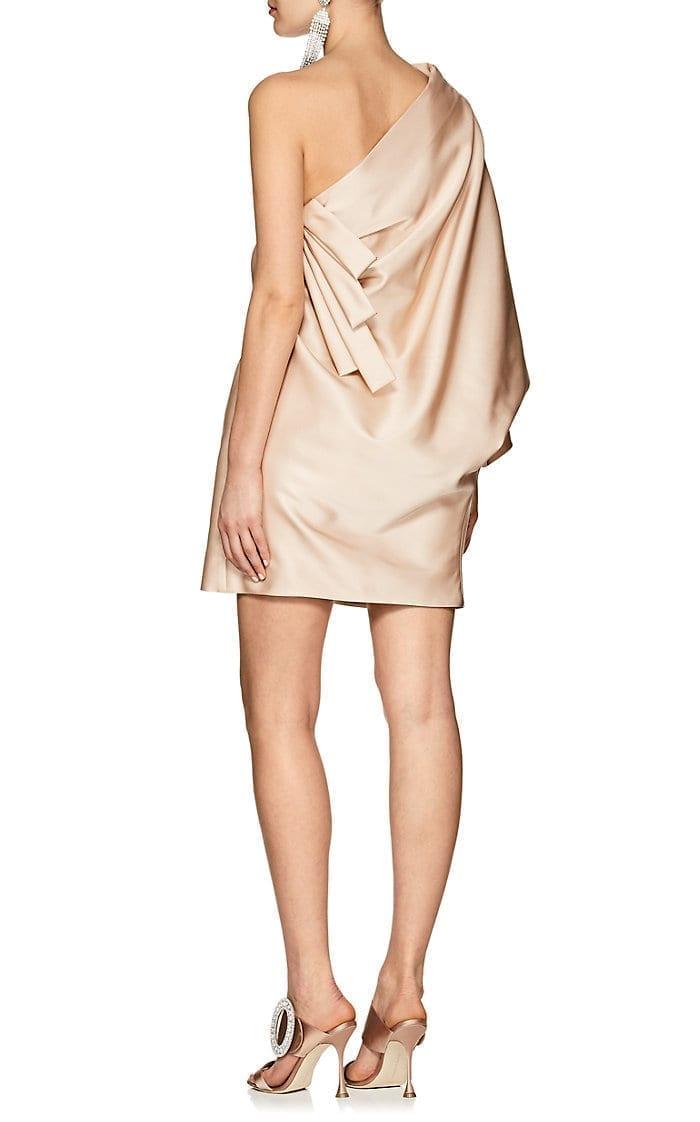 Marc Jacobs Satin One Shoulder Mini Beige Dress We