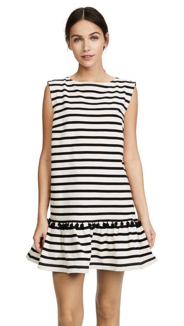 Marc Jacobs Striped Pom Ecru Black Dress