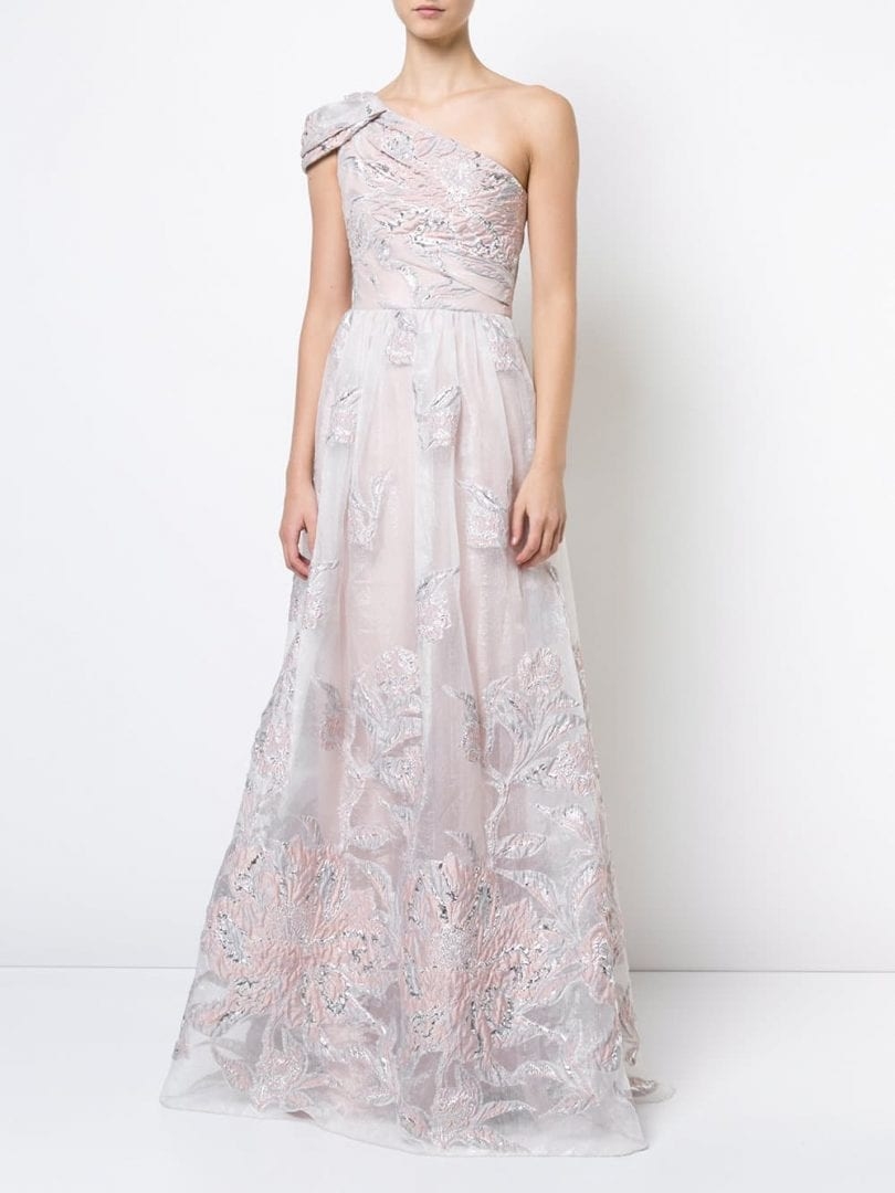 951a1e40 MARCHESA NOTTE One-Shoulder Floral Blush Pink Gown - We Select Dresses