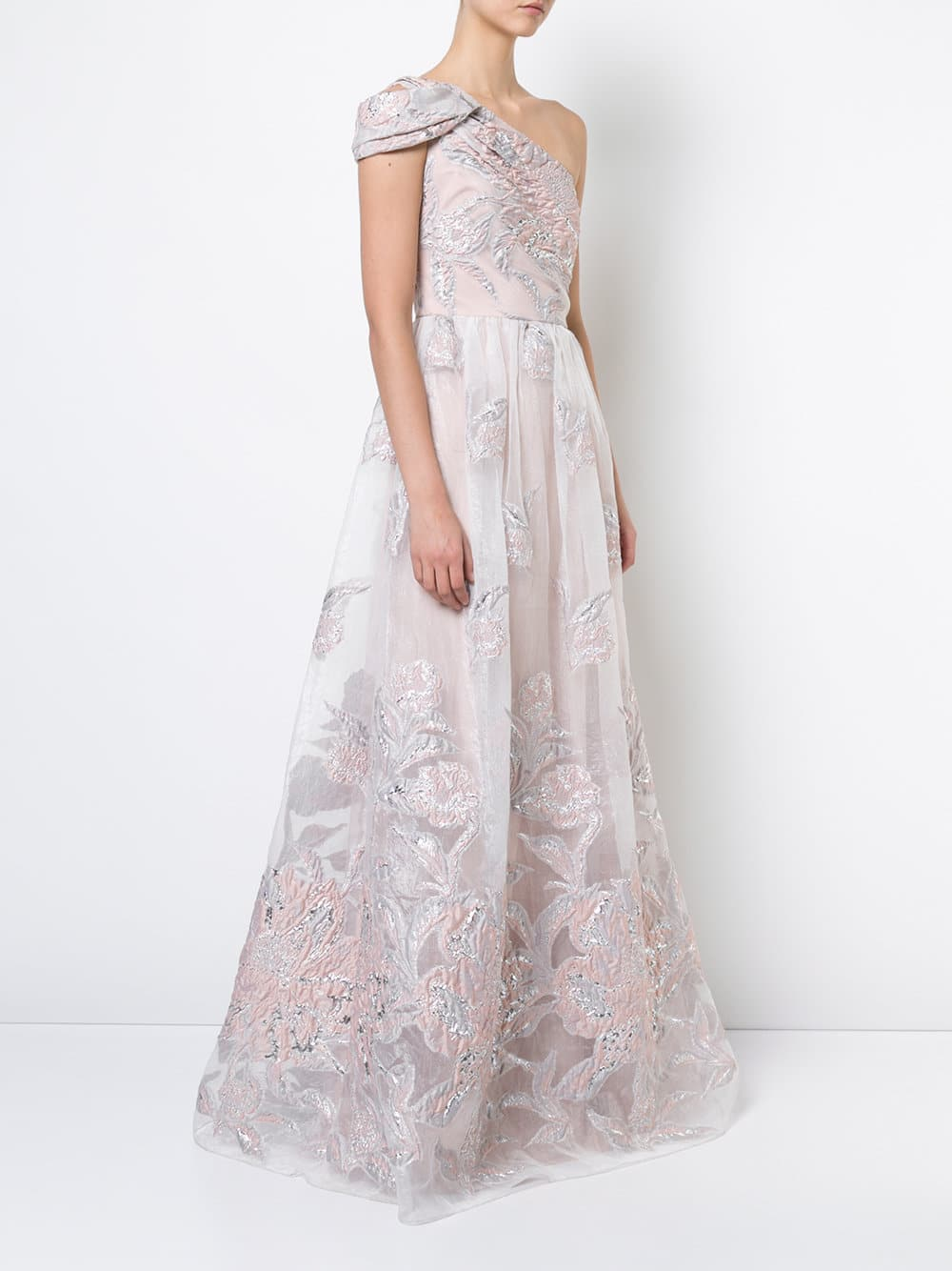 Marchesa Notte One Shoulder Fl Blush Gown