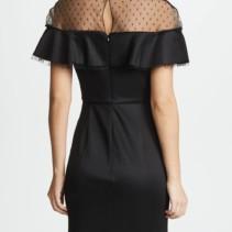 d15f32dcc49d0 MARCHESA NOTTE Point d'Esprit Yoke & Ruffles Neoprene Cocktail Black Dress