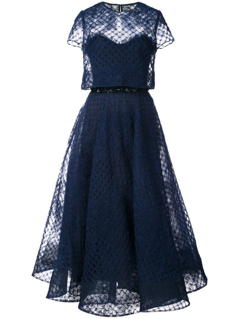 9ad0ce19 MARCHESA NOTTE Tulle Layered Navy Blue Dress - We Select Dresses