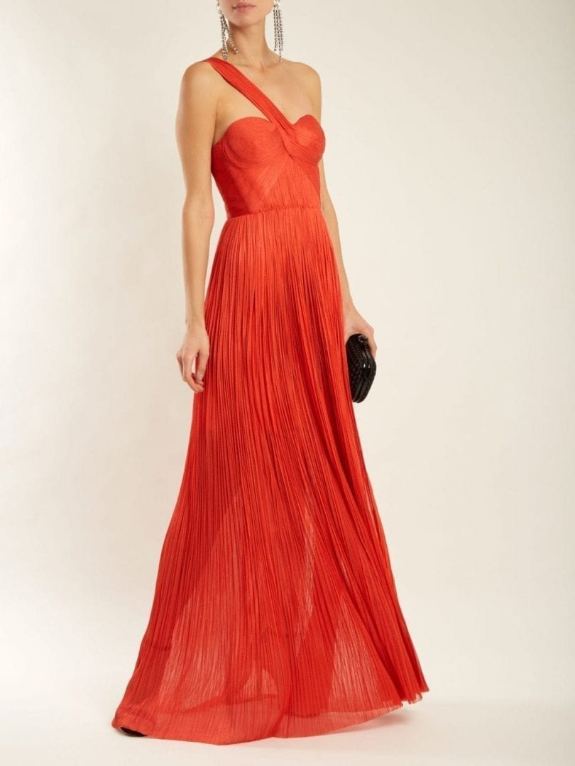 MARIA LUCIA HOHAN Izara Pleated Silk Coral Red Gown