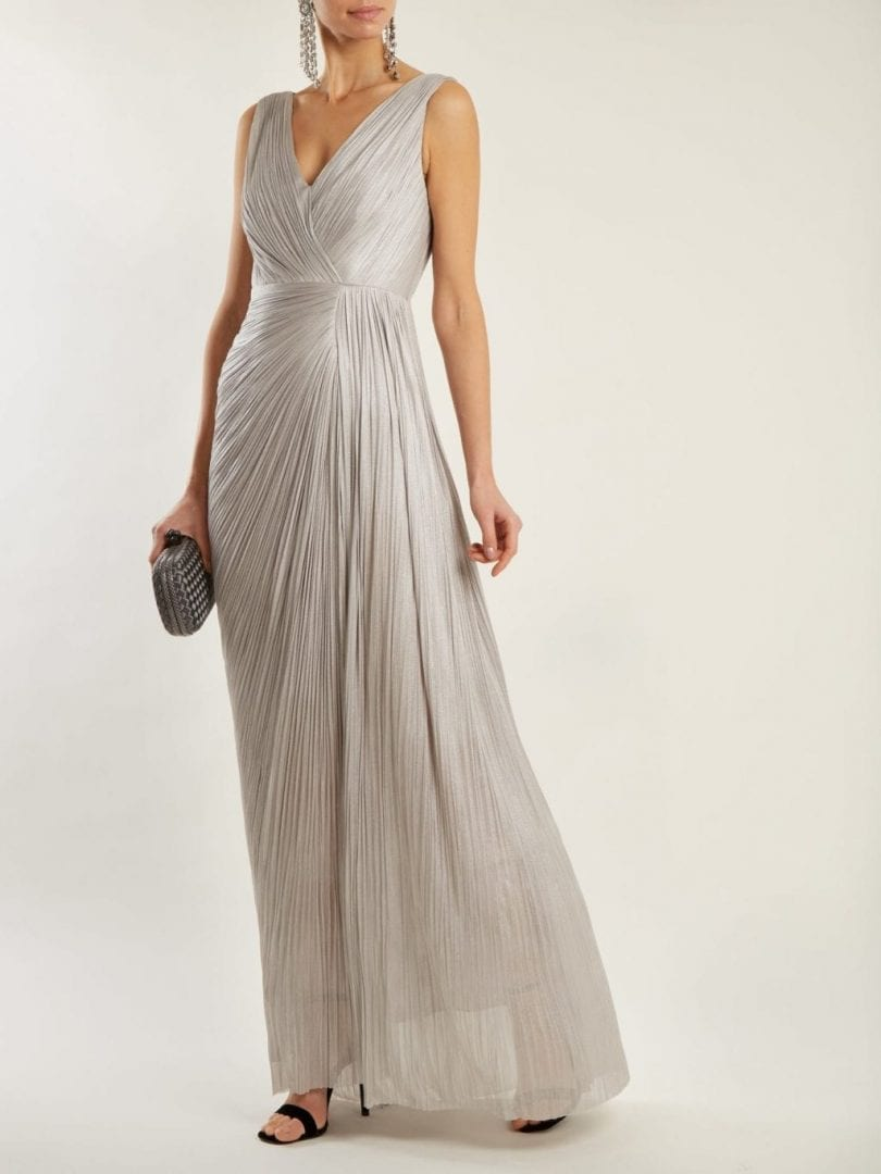 MARIA LUCIA HOHAN Malou Pleated Silk Silver Gown - We Select Dresses