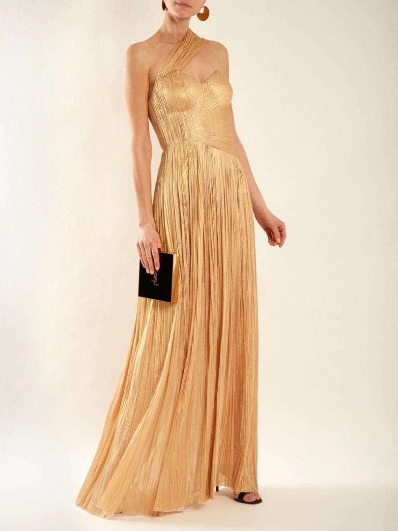 MARIA LUCIA HOHAN Melanie Pleated Silk Light Gold Gown - We Select ...