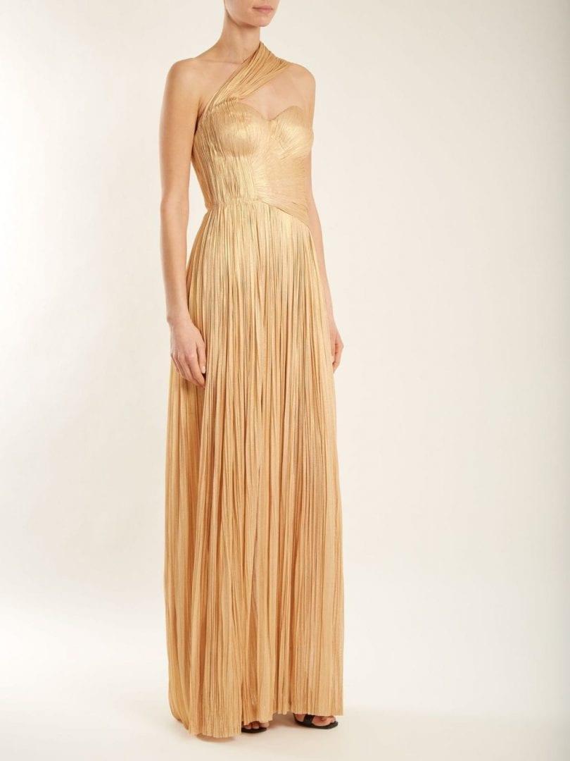 12fe094950b1 MARIA LUCIA HOHAN Melanie Pleated Silk Light Gold Gown - We Select ...