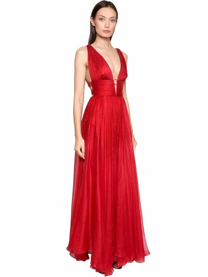 MARIA LUCIA HOHAN Metallic Silk Mousseline Red Gown