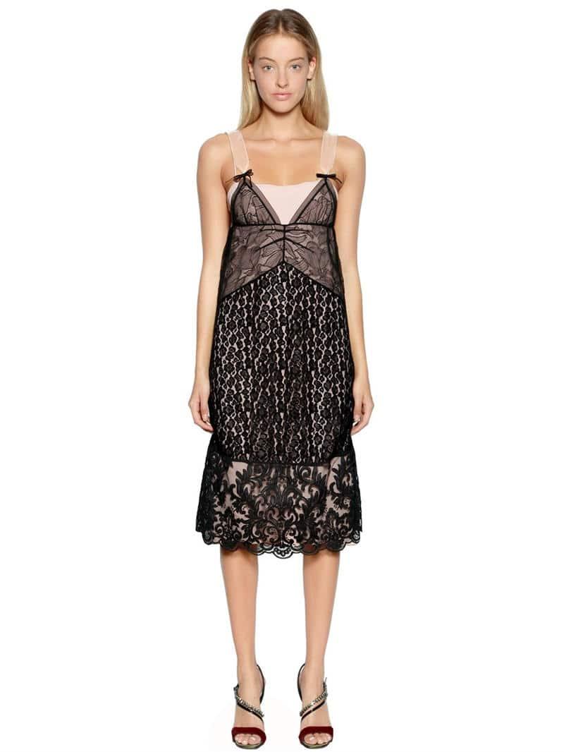 N°21 Two Tone Animalier Lace Black Dress