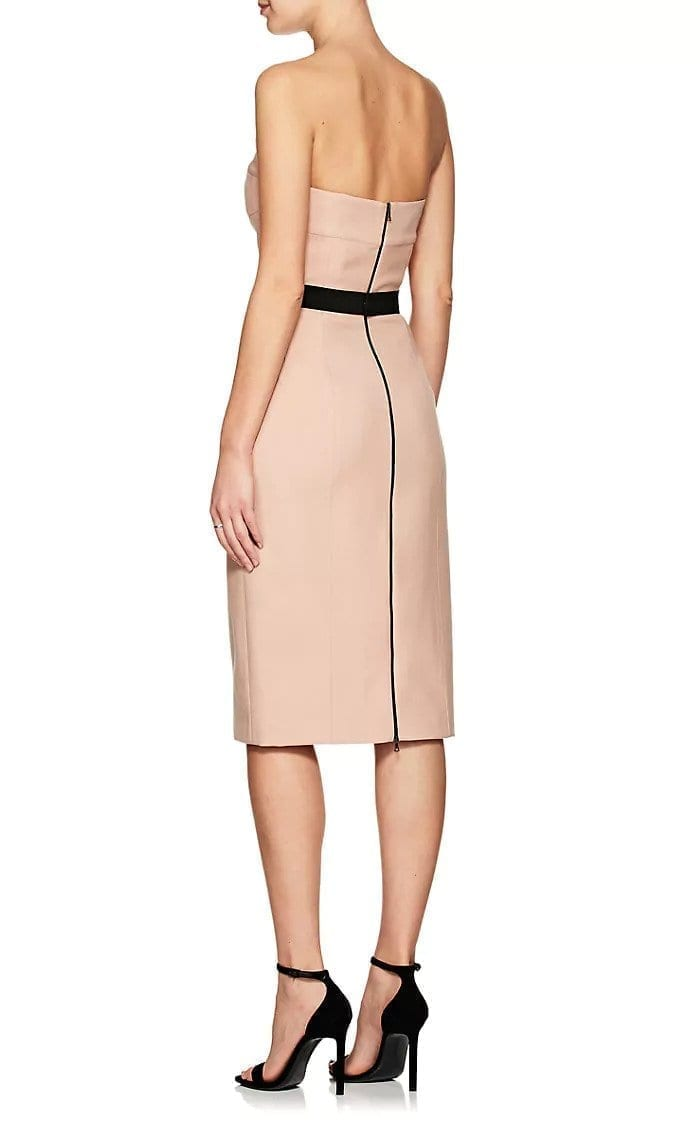d52e5d9cfd5 NARCISO RODRIGUEZ Belted Virgin Wool Strapless Sheath Light Pink / Black  Dress