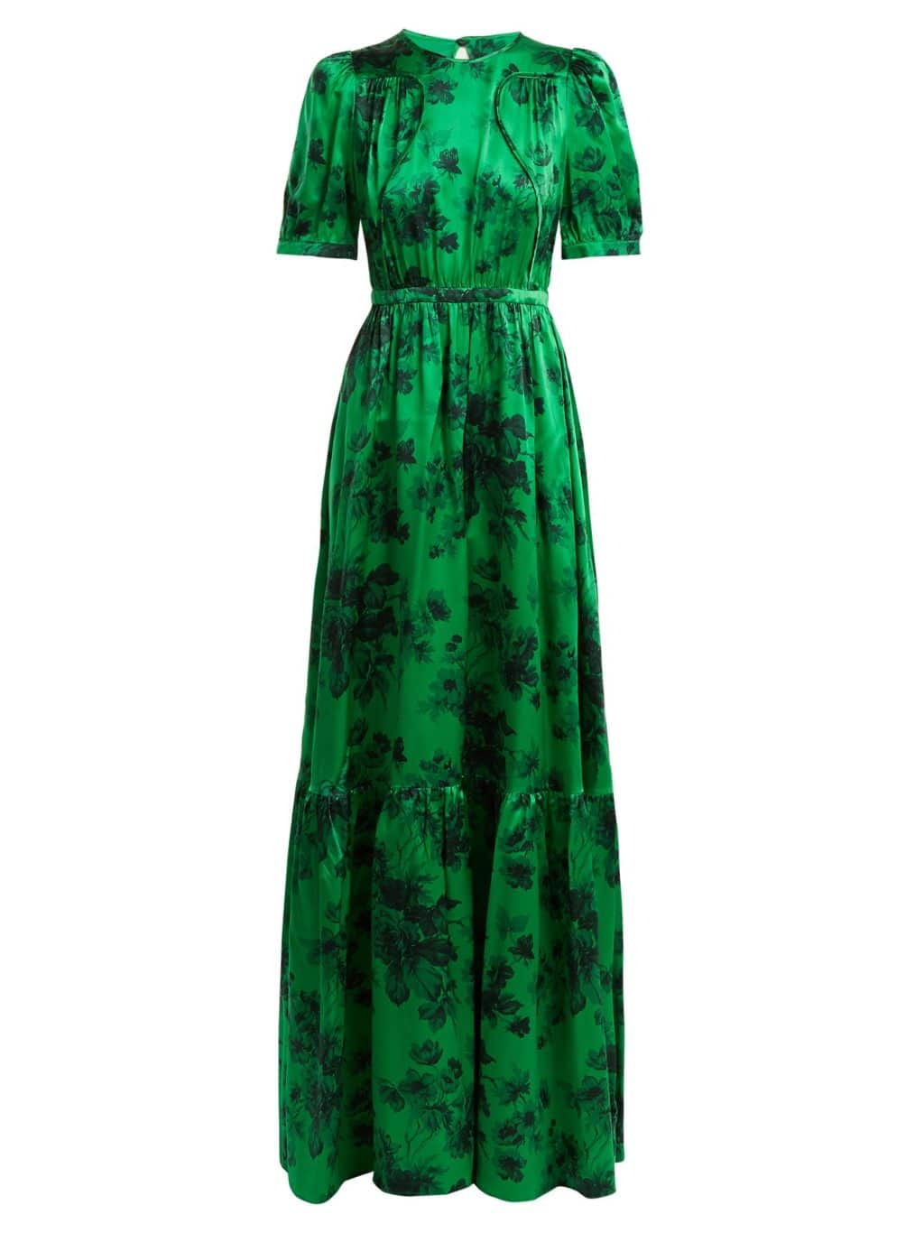 NO. 21 Silk Satin Emerald Green / Floral Printed Gown