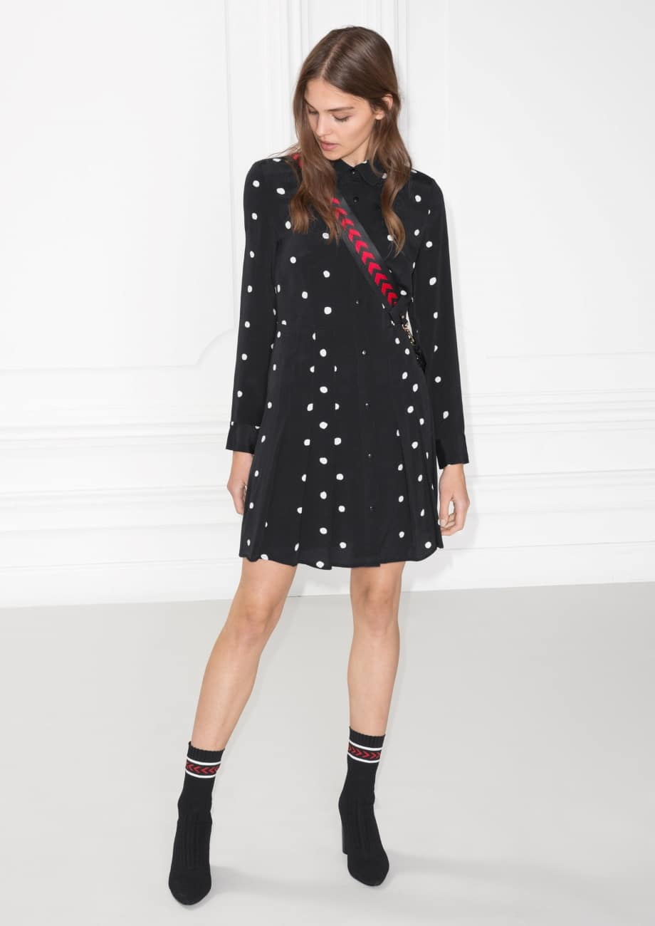 & OTHER STORIES Pleated Shirt Black Dot Dress