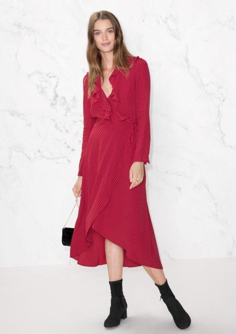 9f82ab217acb & OTHER STORIES Ruffle Tie Wrap Dot / Red Dress - We Select Dresses