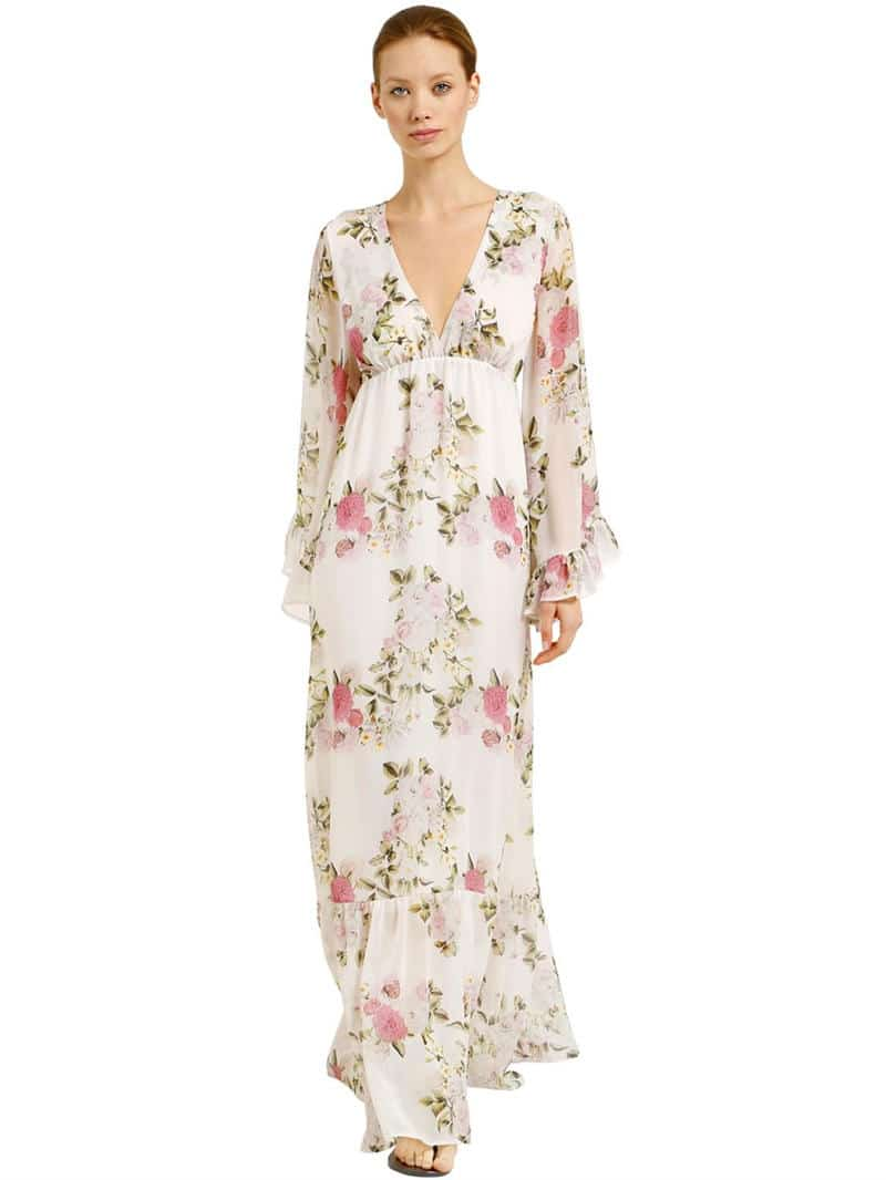 PINK MEMORIES Chiffon Maxi White / Floral Printed Dress - We Select ...