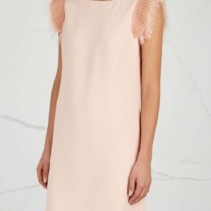 71cea60ac3 PINKO Cher Blush Feather-Trimmed Blush Pink Dress - We Select Dresses
