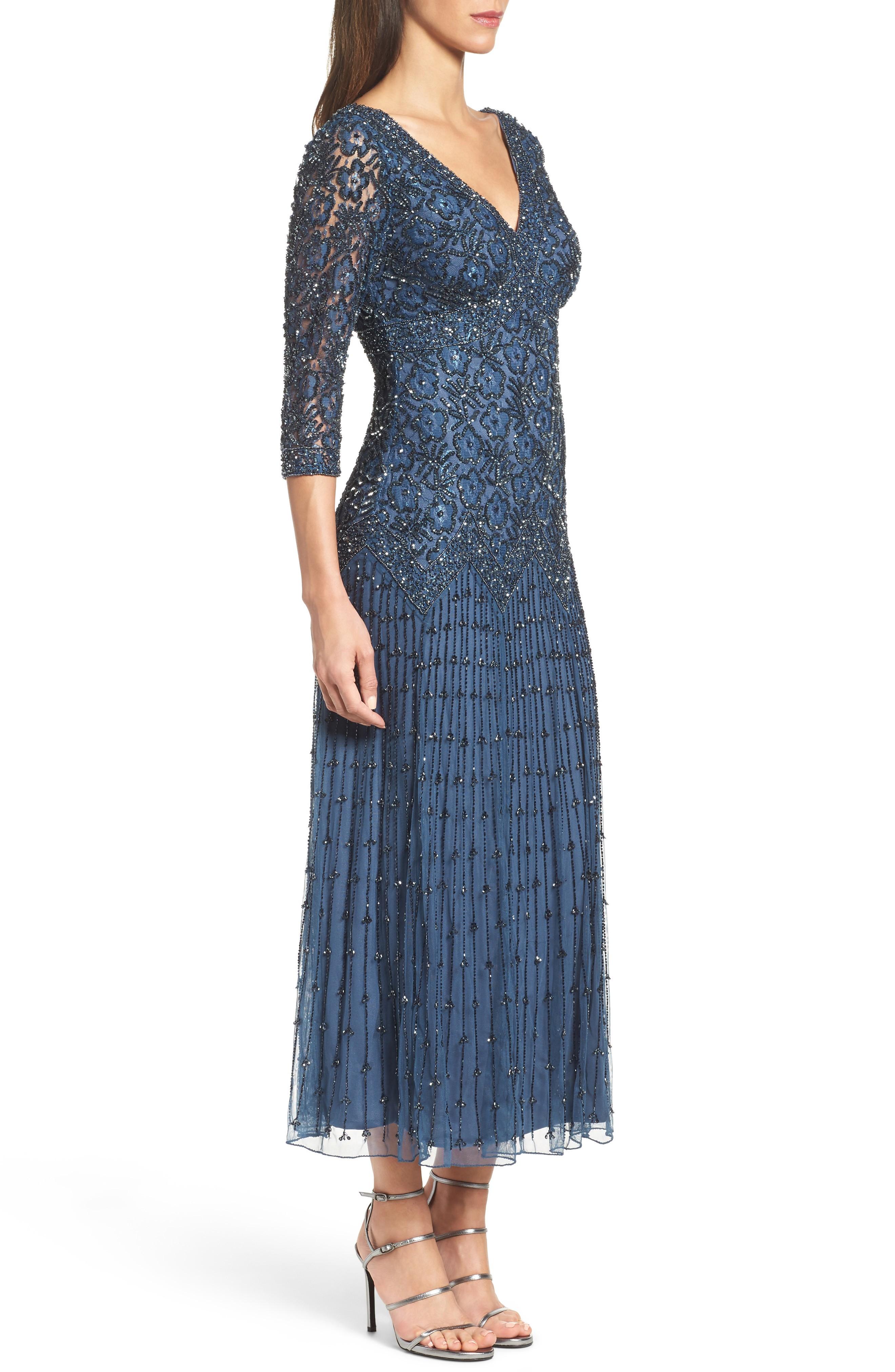 PISARRO NIGHTS Beaded Mesh Blue Dress - We Select Dresses