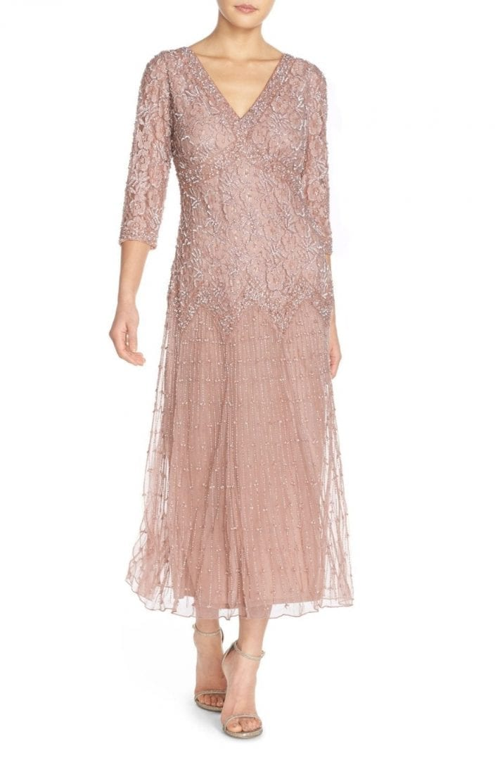 PISARRO NIGHTS Beaded Mesh Light Pink Dress - We Select Dresses