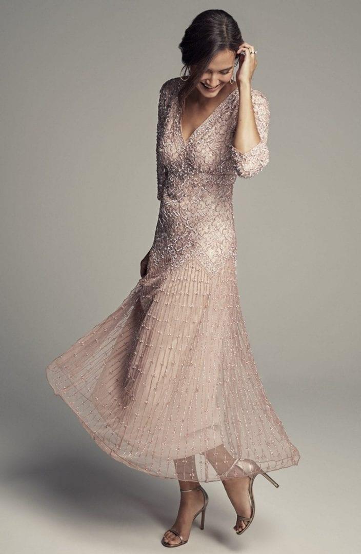 Pisarro Nights Beaded Mesh Light Pink Dress We Select