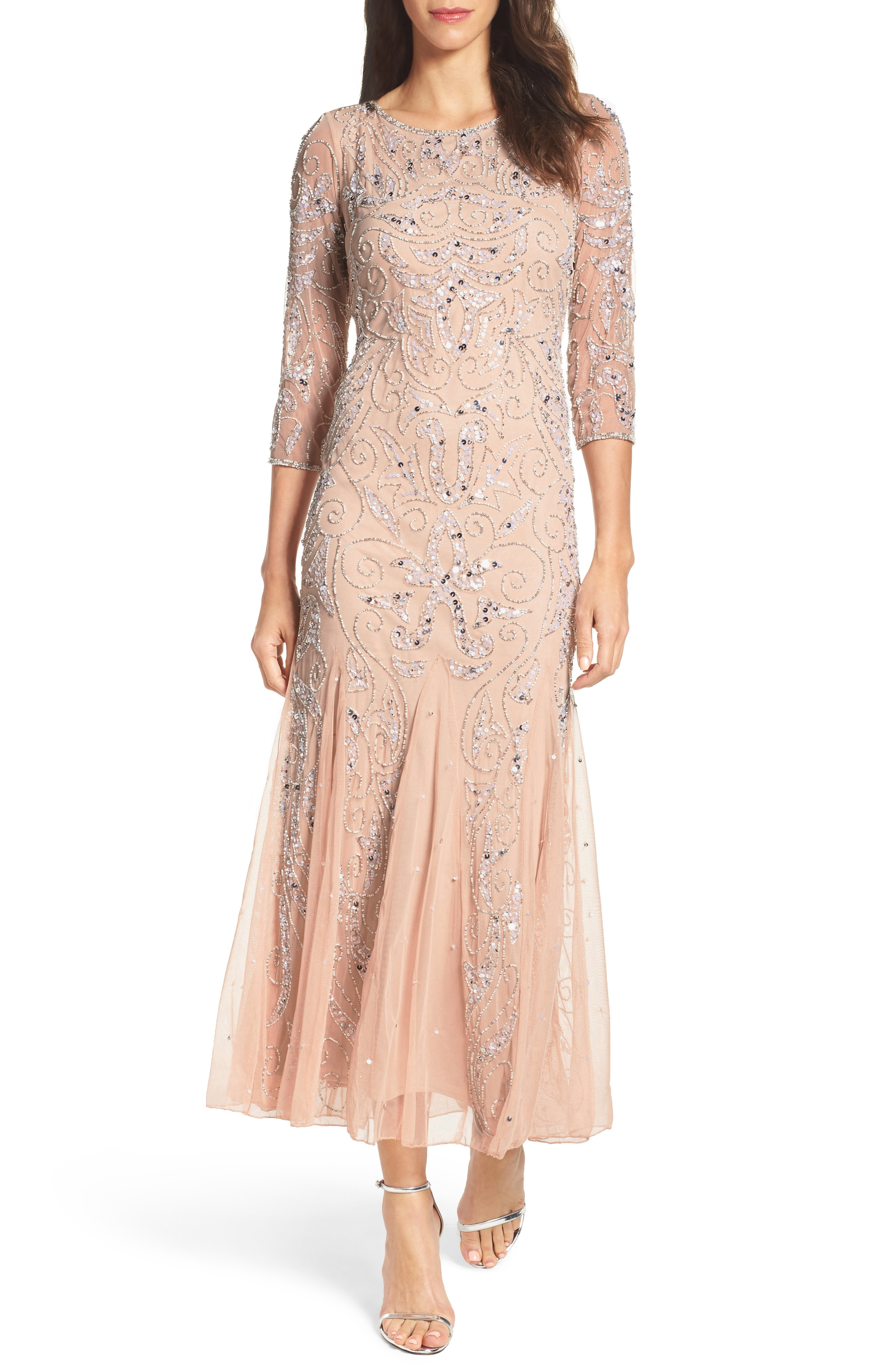 PISARRO NIGHTS Embellished Mesh Blush Gown