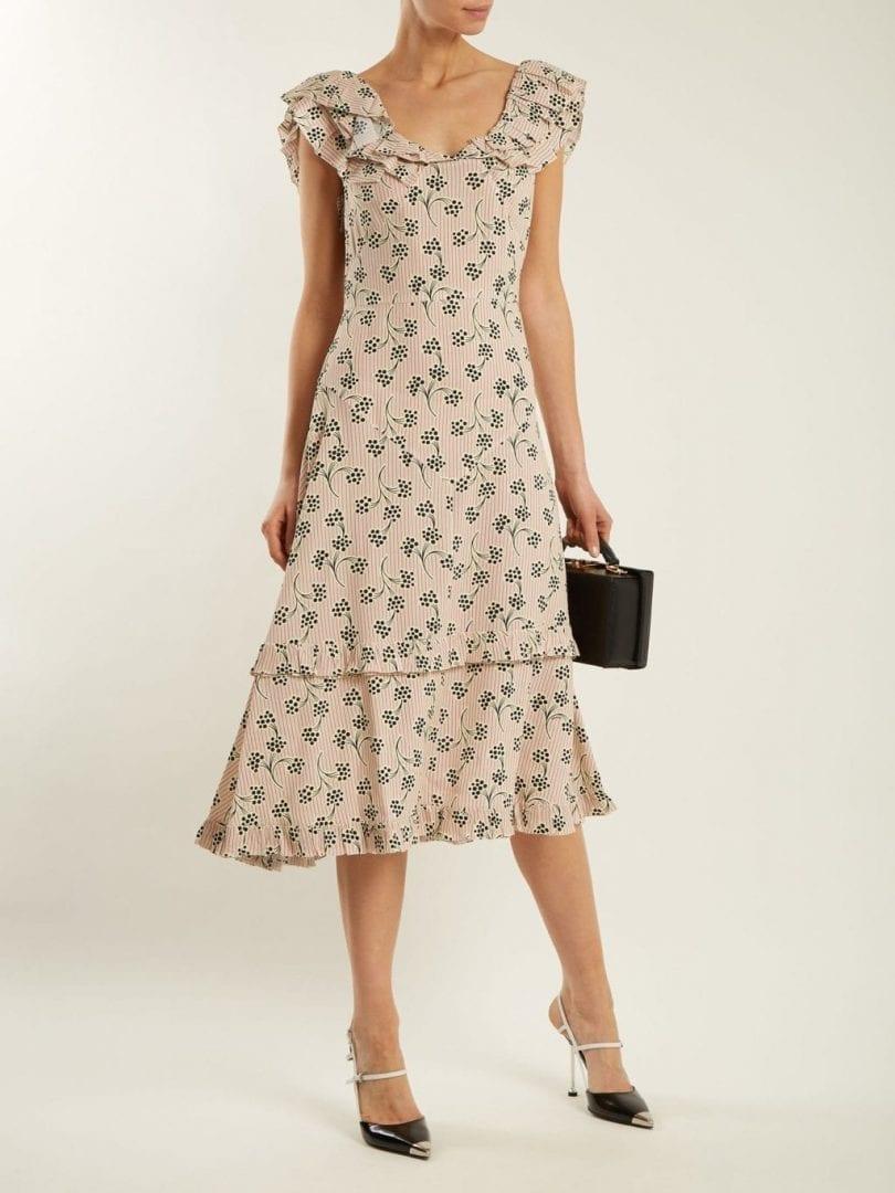 PRADA Floral And Striped Print Crepe Cream Dress