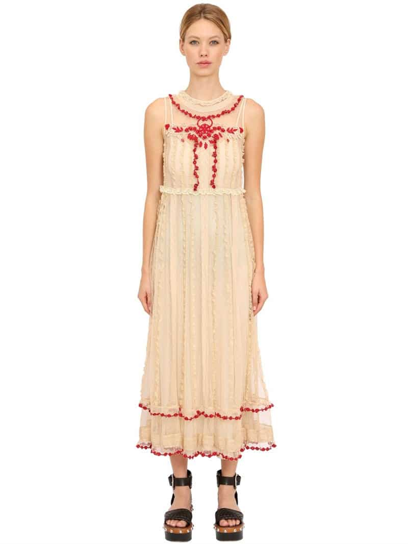 RED VALENTINO Embroidered Ruffled Lace Long Beige Dress - We Select ...