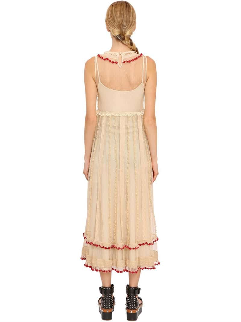 Red Valentino Embroidered Ruffled Lace Long Beige Dress