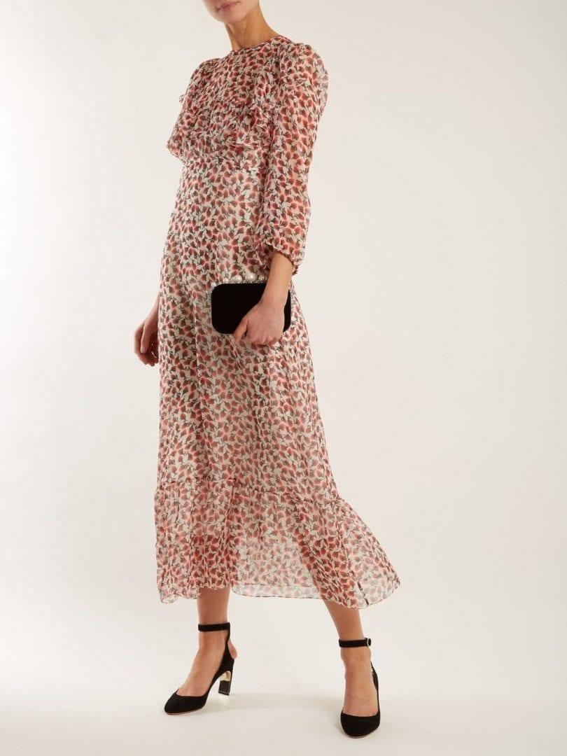 ROCHAS Ruffle Trimmed Rosebud Print Silk Ivory Dress
