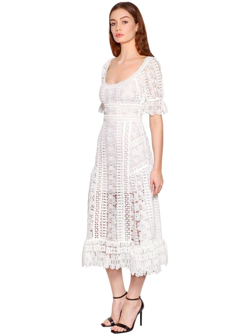 Self Portrait Lace Midi White Fl Dress