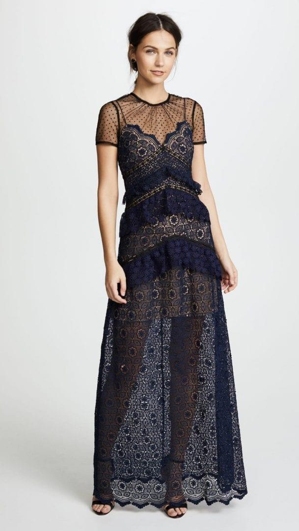 e5119c469 SELF PORTRAIT Lace Paneled Maxi Navy Blue Dress - We Select Dresses