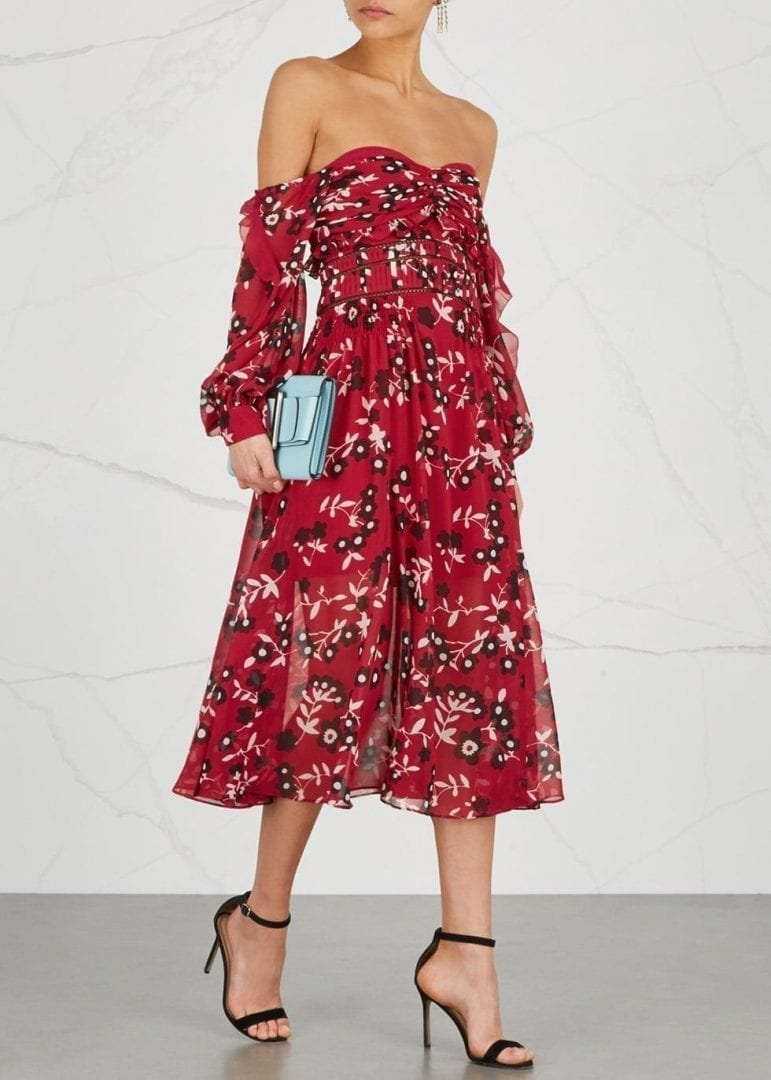 SELF-PORTRAIT Strapless Red / Floral Printed Dress
