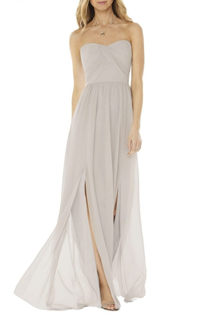 SOCIAL BRIDESMAIDS Strapless Georgette Oyester Gown