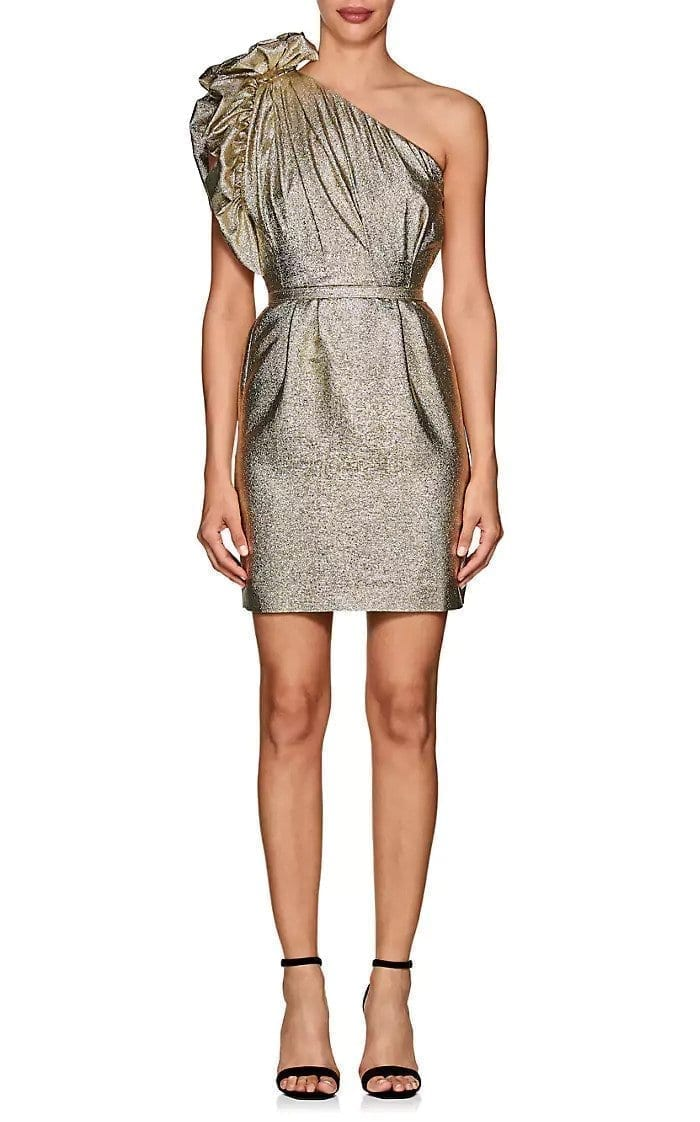 0c7995bdce0 STELLA MCCARTNEY Polly One-Shoulder Cocktail Metallic Gold   Metallic  Silver Dress