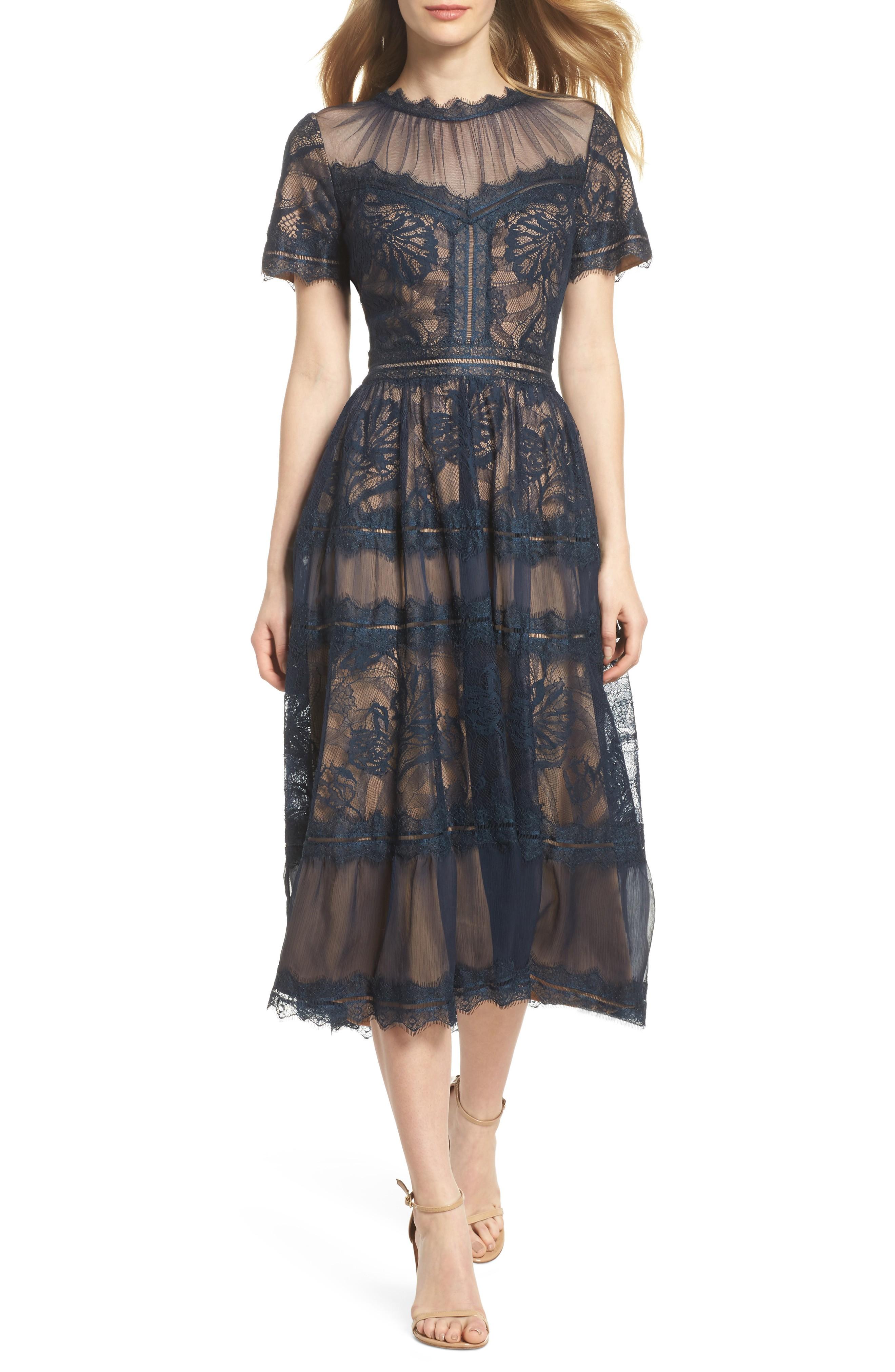 TADASHI SHOJI Lace Tea-Length Nude / Navy Blue Dress - We Select Dresses