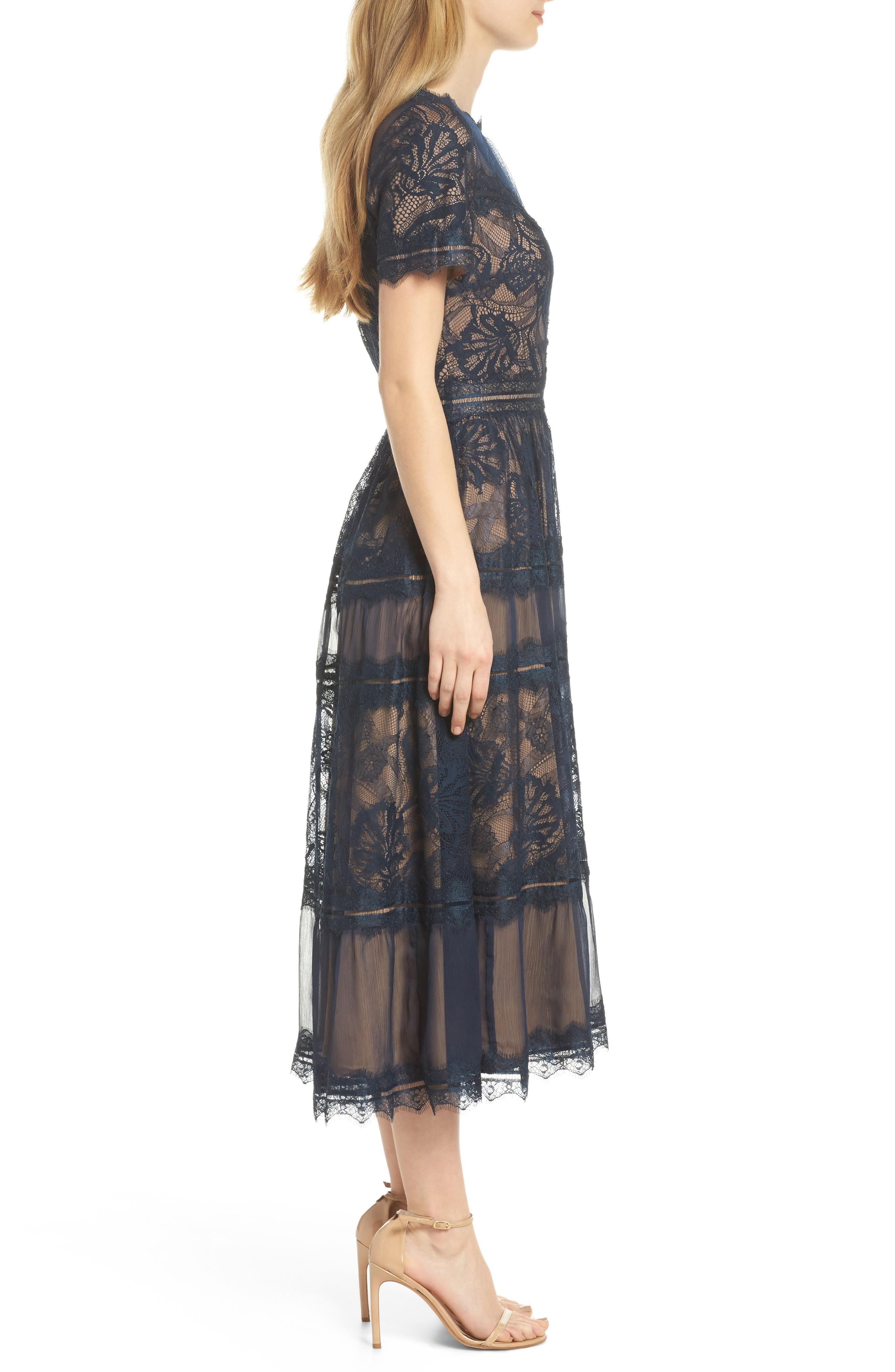 Tadashi Shoji Lace Tea Length Nude Navy Blue Dress We