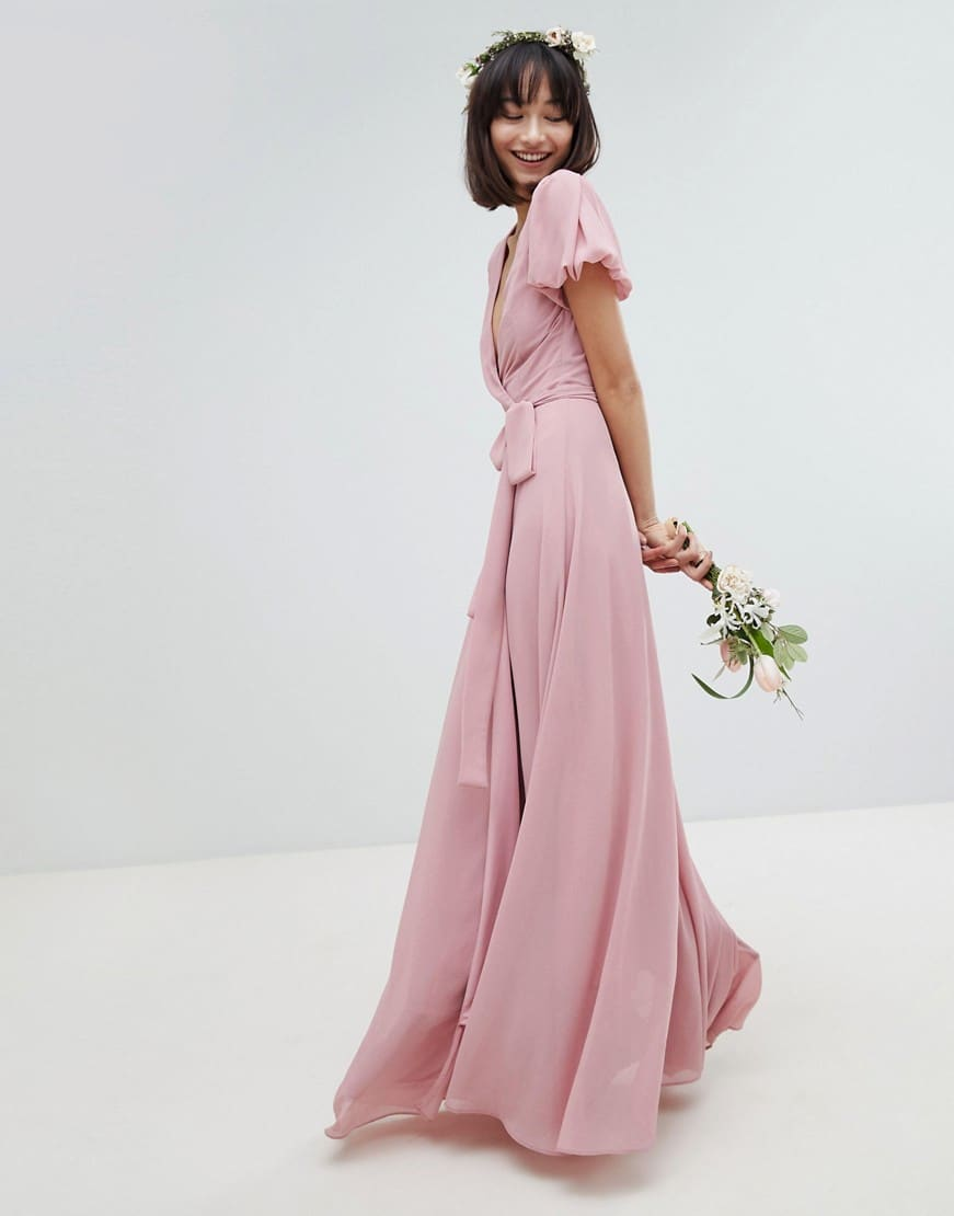 TFNC Tie Detail And Puff Sleeves Wrap Maxi Bridesmaid Vintage Rose Dress