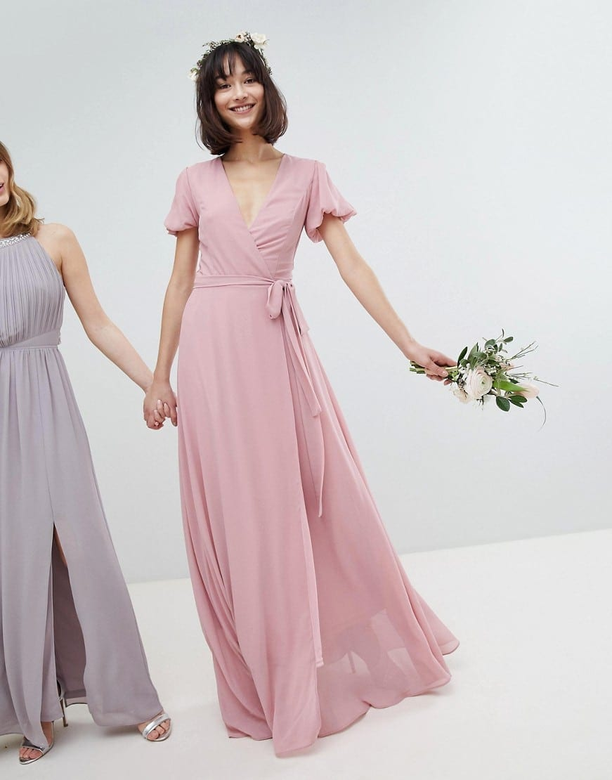TFNC Tie Detail And Puff Sleeves Wrap Maxi Bridesmaid Vintage Rose ...