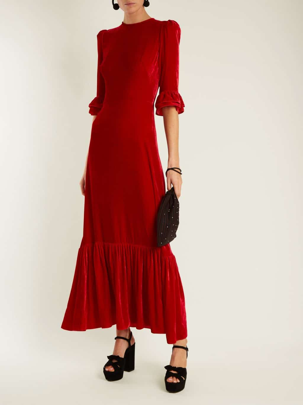 THE VAMPIRE'S WIFE Festival Ruffled Velvet Red Dress