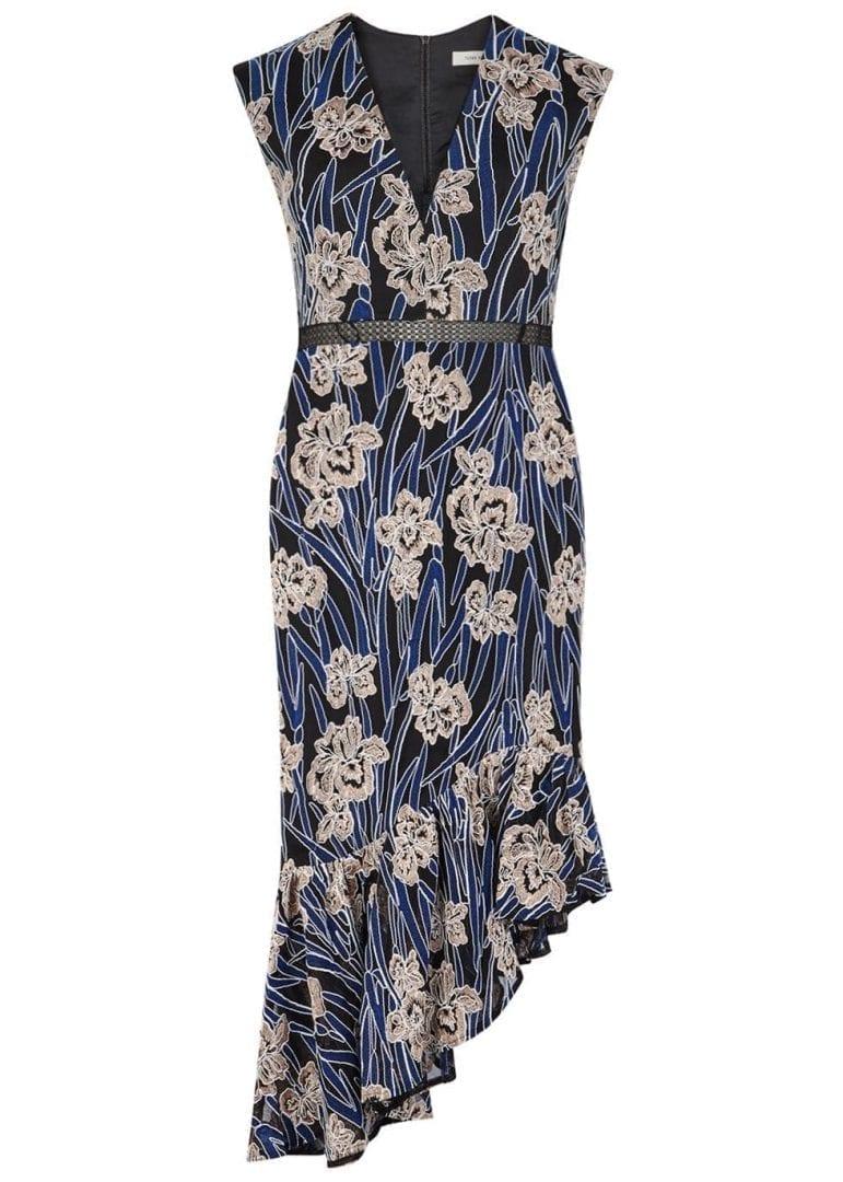 THREE FLOOR Fleur Floral Embroidered Midi Black Dress