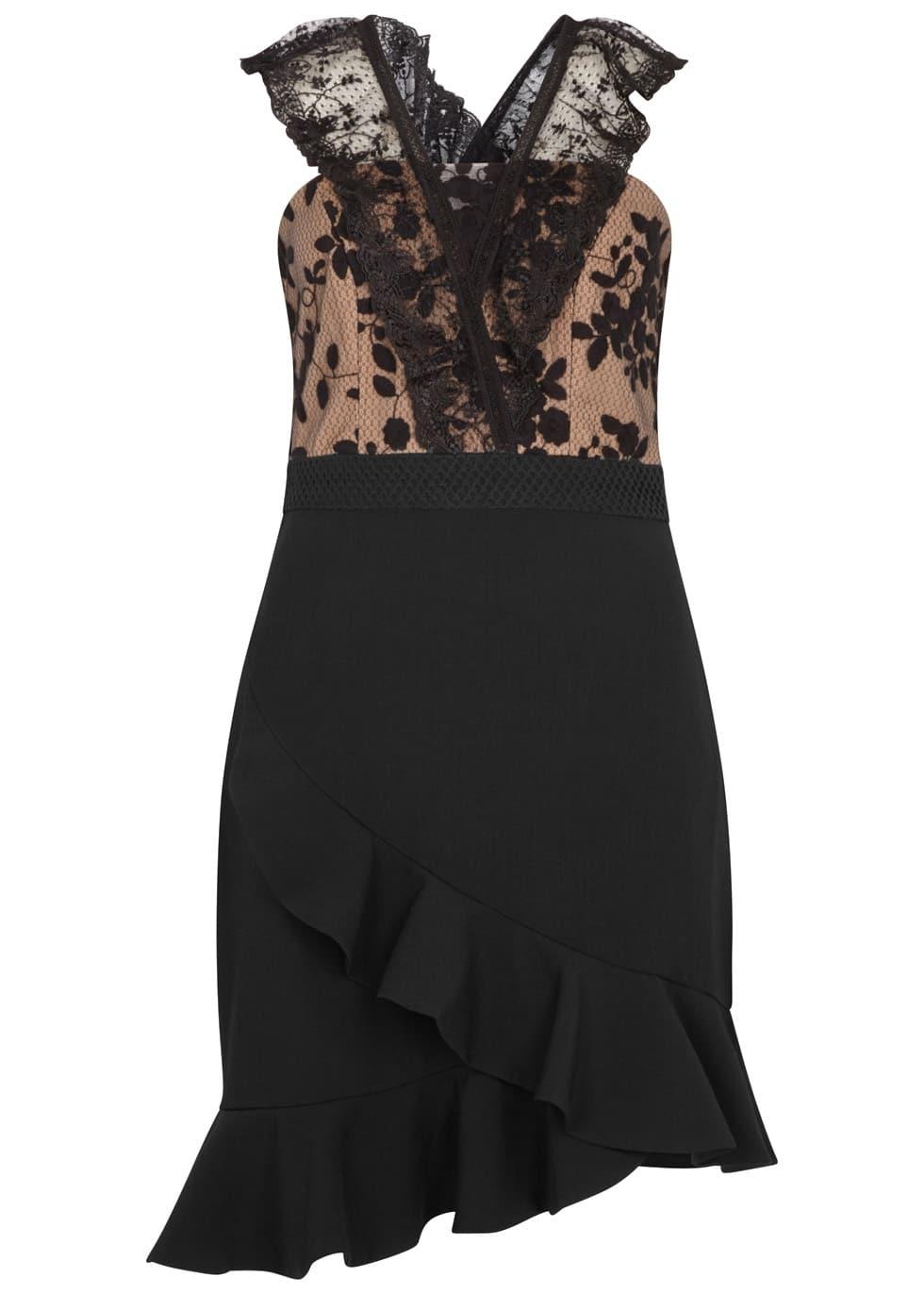 THREE FLOOR Ruffle Trimmed Black Dress