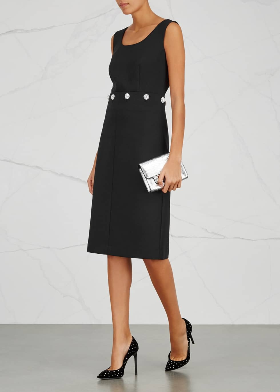 TORY BURCH Fremont Crystal Embellished Black Dress