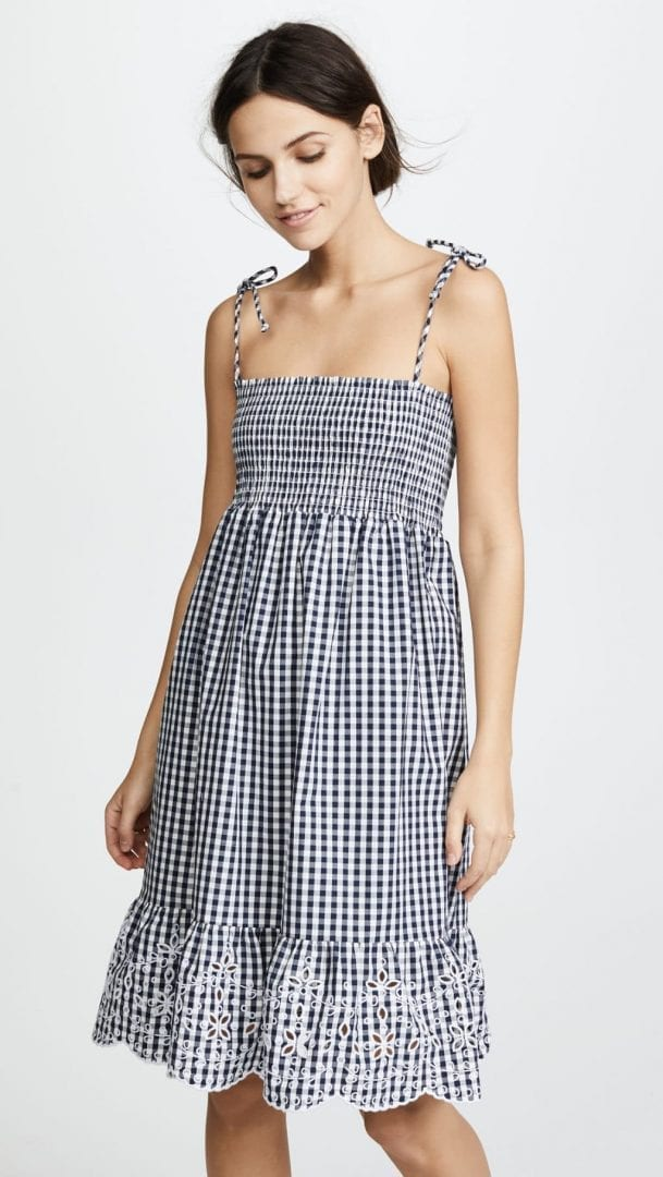 TORY BURCH Gingham Beach Blue Dress - We Select Dresses