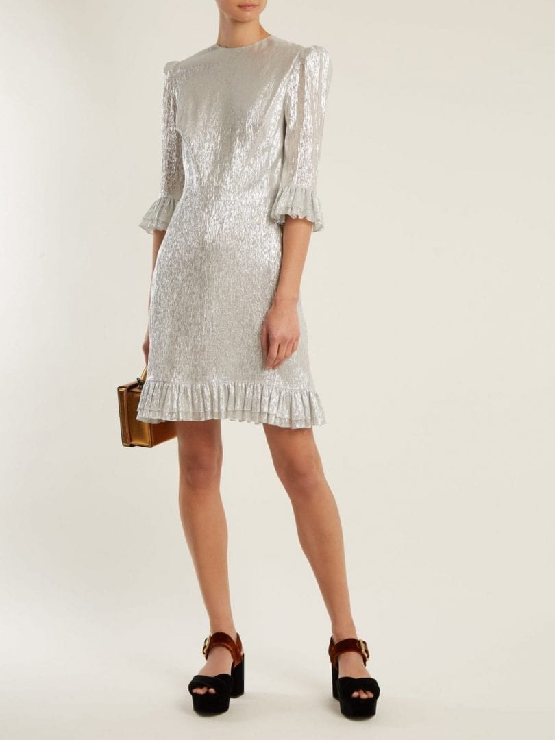 THE VAMPIRE'S WIFE Festival Ruffle-Trimmed Silk-Blend Lamé Silver Dress