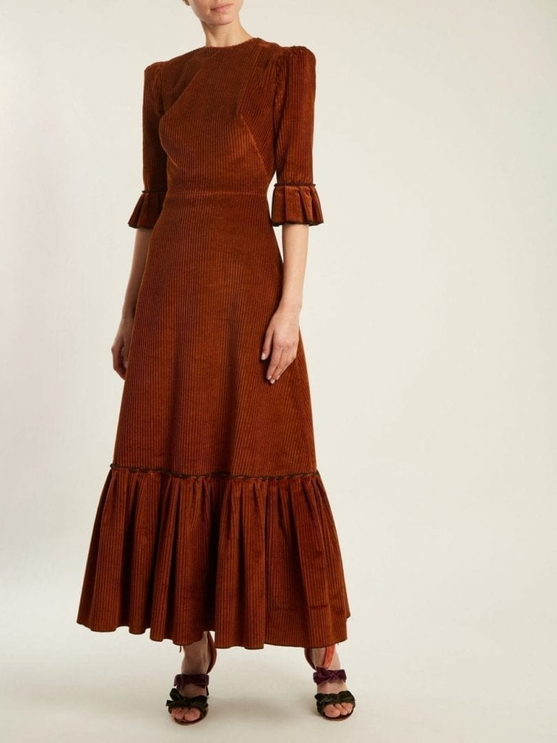 THE VAMPIRE'S WIFE Festival Ruffled Cotton-Corduroy Tobacco Brown Dress