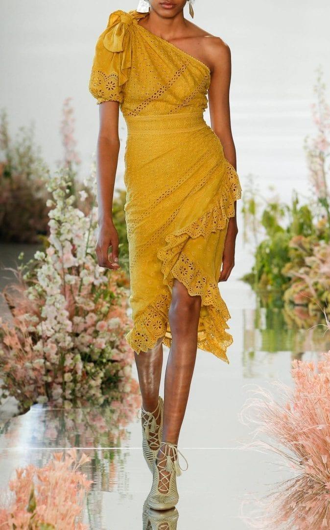 ULLA JOHNSON Gwyneth One Shoulder Eyelet Yellow Dress