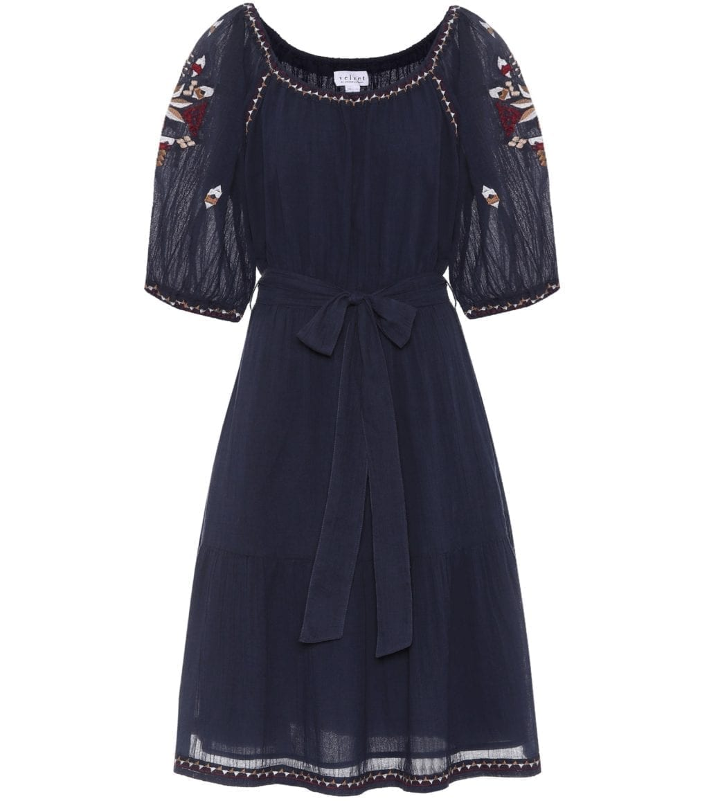 VELVET Monae Embroidered Cotton Navy Dress