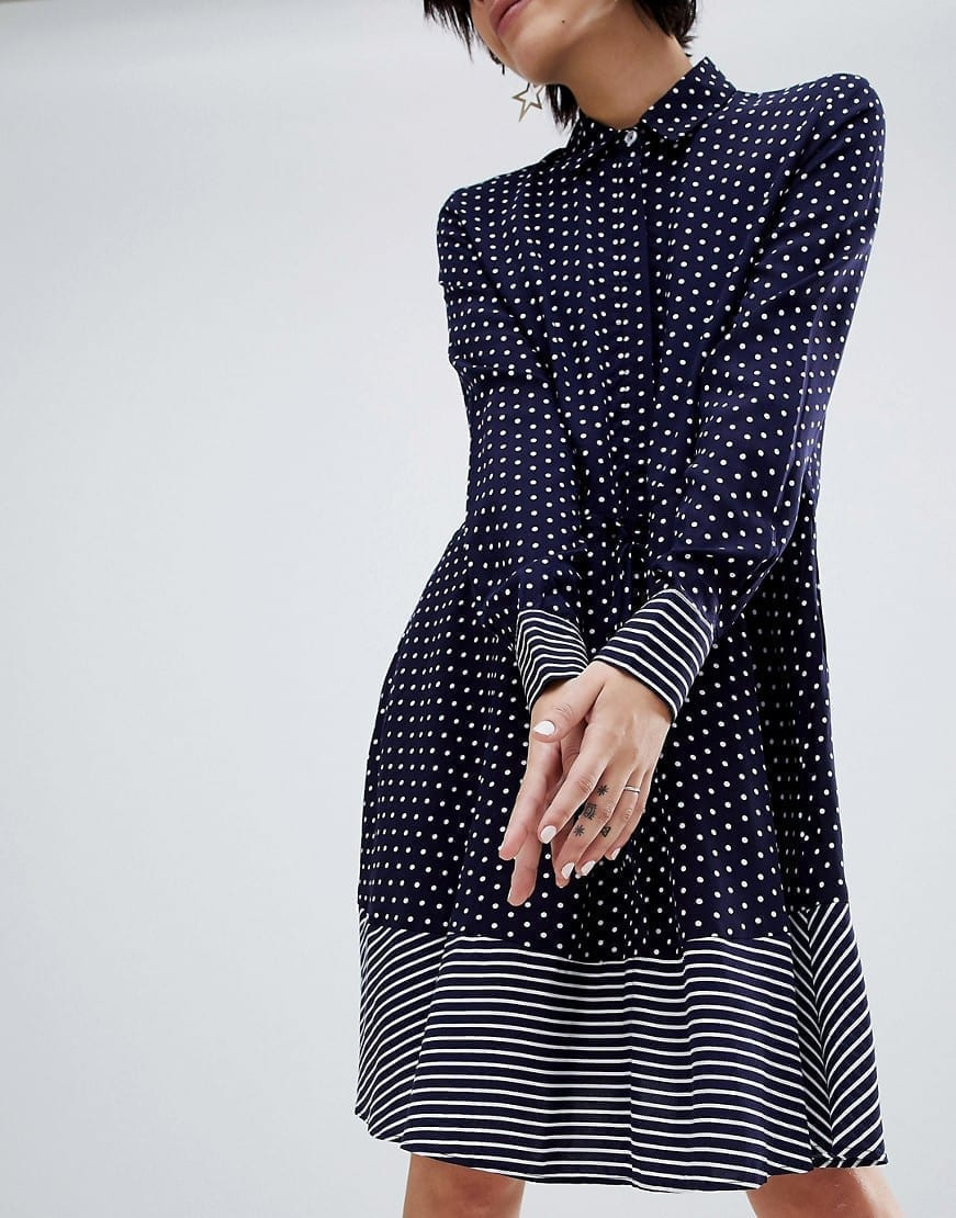 Warehouse Stripe And Spot Shirt Blue Dress We Select Dresses Overall Pinny