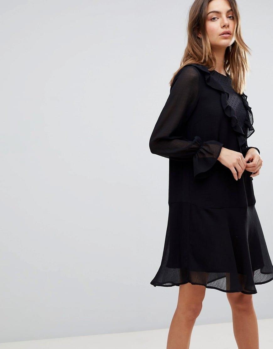 39838e22a5d5 Y.A.S Sleeve Detail Ruffle Black Dress - We Select Dresses