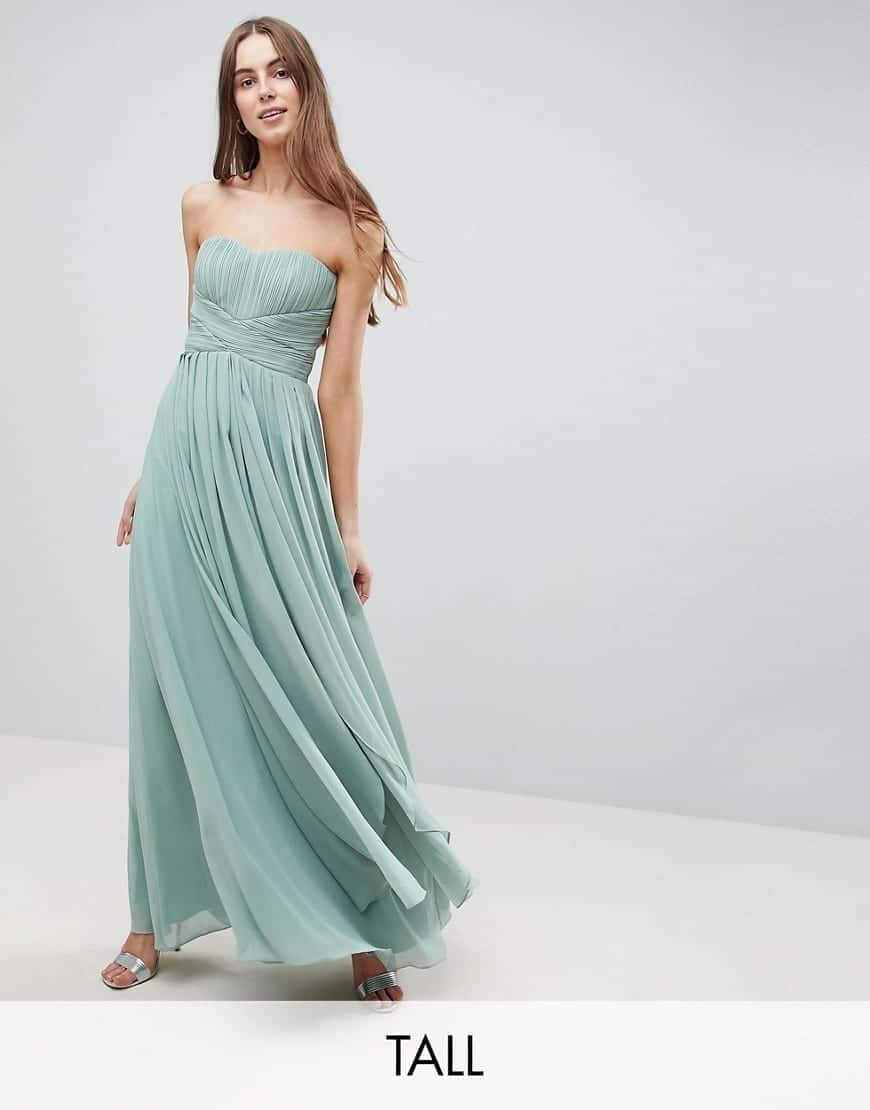Y.A.S Tall Knot Detail Strapless Maxi Green Dress